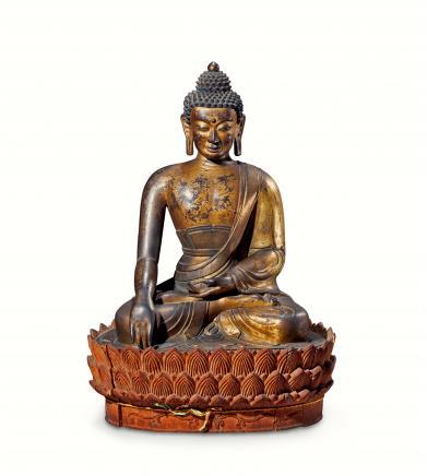 十八世纪  铜漆金释迦牟尼佛坐像