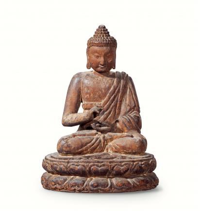 元  木雕释迦牟尼佛坐像