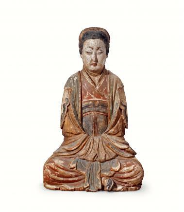 明  木雕彩绘侍女坐像