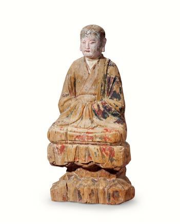 明  木雕彩绘罗汉坐像
