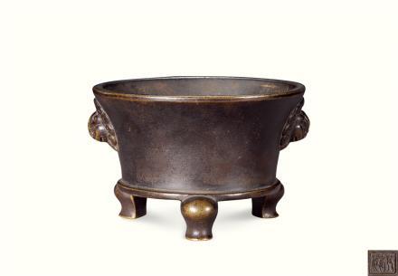 清  铜雕天鸡耳法盏炉