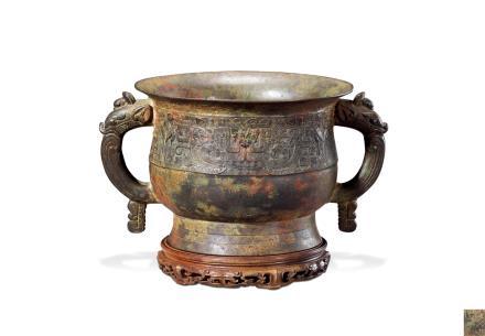 明或更早  铜雕兽面纹双龙耳簋式炉