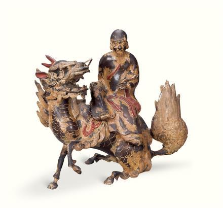 清  铜雕彩绘寿星麒麟摆件