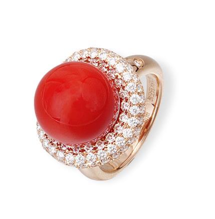 18K金珊瑚戒指