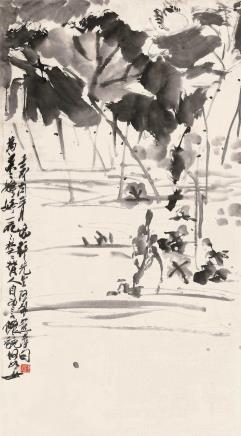 壬戌(1922)年作  潘天寿  墨荷图