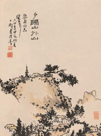 甲辰(1964)年作  潘天寿  夕阳山外山