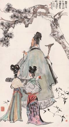 壬戌(1982)年作  程十发  右军笼鹅去