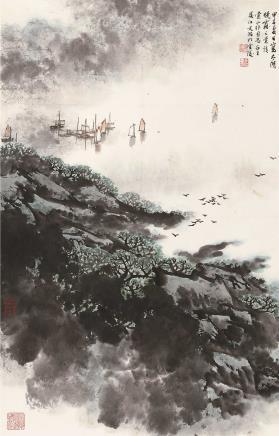 甲子(1984)年作  宋文治  太湖晓霭