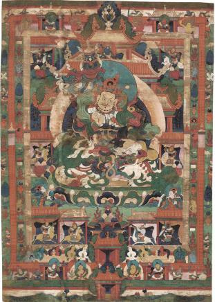 十七世纪  财宝天王唐卡