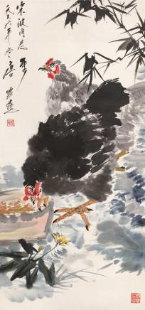 1976年作  唐云  双吉图