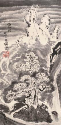 庚辰(2000)年作  程十发  雪山图