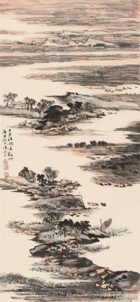 庚申(1980)年作  陆俨少  十月江湖吐乱洲