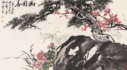 壬申(1992)年作  陆一飞*唐逸览*韩天衡  满园春