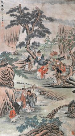 王素  九老图