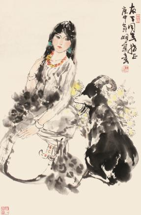 王明明  少女与羊