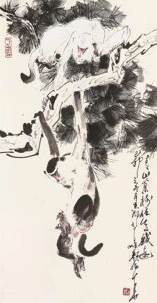 颜梅华 猴戏图