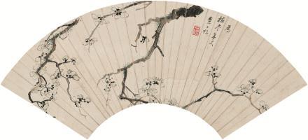 查士标(明)(1615-1698)梅花扇片