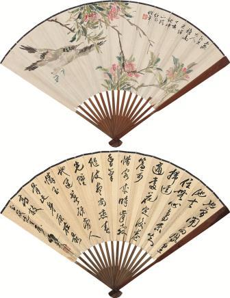 任伯年(1840-1896)花鸟   蒲华(1839-1911)书法扇面