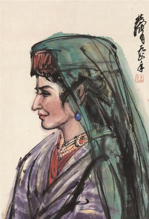 黄胄(1925-1997)西域女郎