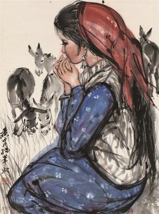黄胄(1925-1997)牧驴图