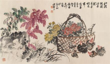 诸乐三(1902-1984)深秋瑶圃