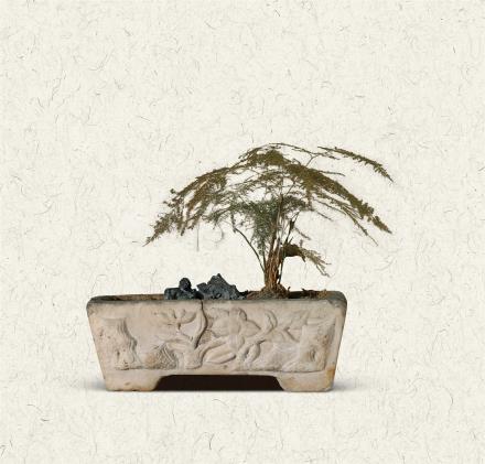 清汉白玉雕花卉长方盒
