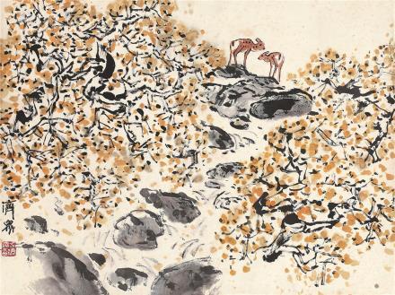 方济众(1923~1987)秋山双鹿图