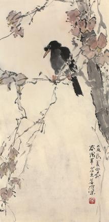 杨善深(1913~2004)红叶八哥