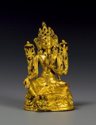 明铜鎏金绿度母坐像