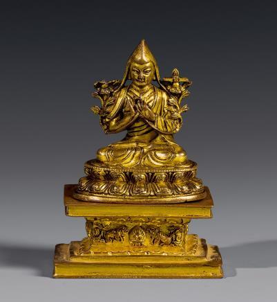 清康熙铜宗喀巴坐像