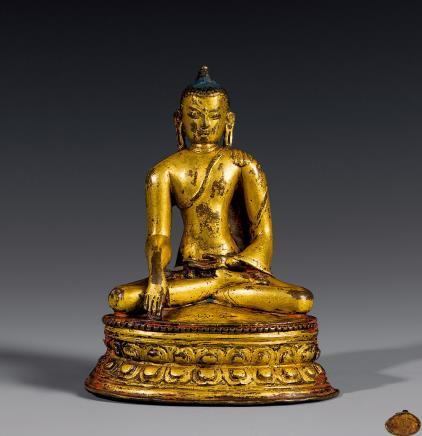 12世纪铜帕拉坐像