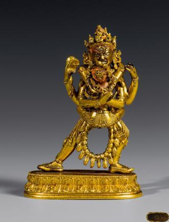 清铜鎏金双身欢喜佛立像