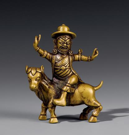 18世纪铜白哈儿骑羊护法