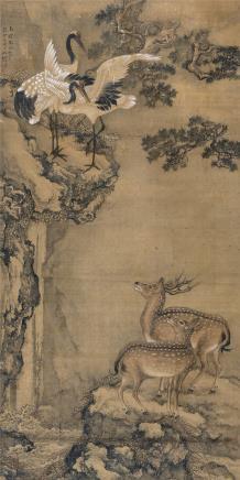 沈铨(1682-1760)松鹤延年图
