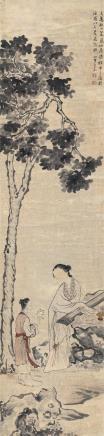 王素(1794-1877)抚琴图