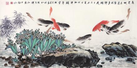 胡志辉 陶天月合作 鱼乐图
