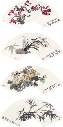 黄庆生 墨竹图、兰草、梅花、菊花