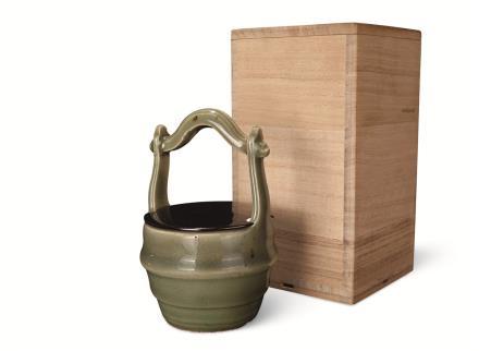 元 龙泉窑青釉仿木桶茶入