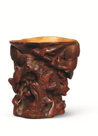 明 竹根雕漆金松柏杯