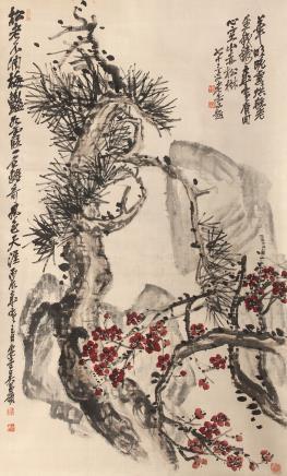 吴昌硕  红梅古松