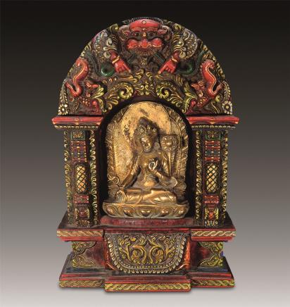 十七世纪 铜鎏金度母彩龛佛