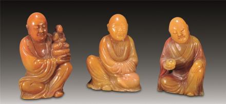 清 寿山罗汉三件