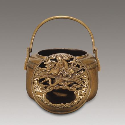 清 铜南极寿翁手炉