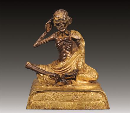 清中期 铜鎏金米拉日巴坐像