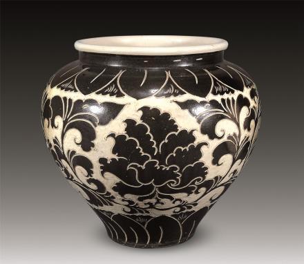 金 磁州窑牡丹纹罐