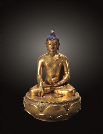 清康熙 铜鎏金释迦牟尼佛