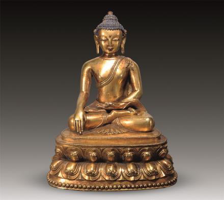 明 铜鎏金佛祖像