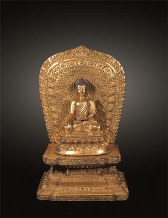 清乾隆 铜鎏金背光释迦牟尼像
