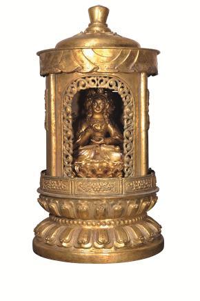 清康熙 铜鎏金摩力支天龛像