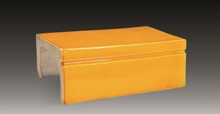 明 黄釉桥形笔枕